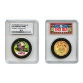 SAN FRANCISCO 49ERS #1 DAD Licensed NFL 24KT Gold Clad JFK Half Dollar Coin in Special *Best Dad* Sealed Graded Holder