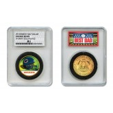 CHICAGO BEARS #1 DAD Licensed NFL 24KT Gold Clad JFK Half Dollar Coin in Special *Best Dad* Sealed Graded Holder