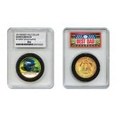 DENVER BRONCOS #1 DAD Licensed NFL 24KT Gold Clad JFK Half Dollar Coin in Special *Best Dad* Sealed Graded Holder