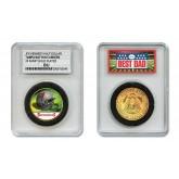 TAMPA BAY BUCCANEERS #1 DAD Licensed NFL 24KT Gold Clad JFK Half Dollar Coin in Special *Best Dad* Sealed Graded Holder