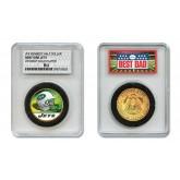 NEW YORK JETS #1 DAD Licensed NFL 24KT Gold Clad JFK Half Dollar Coin in Special *Best Dad* Sealed Graded Holder