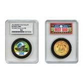 DETROIT LIONS #1 DAD Licensed NFL 24KT Gold Clad JFK Half Dollar Coin in Special *Best Dad* Sealed Graded Holder
