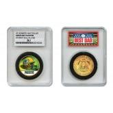GREEN BAY PACKERS #1 DAD Licensed NFL 24KT Gold Clad JFK Half Dollar Coin in Special *Best Dad* Sealed Graded Holder