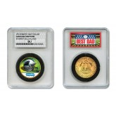 CAROLINA PANTHERS #1 DAD Licensed NFL 24KT Gold Clad JFK Half Dollar Coin in Special *Best Dad* Sealed Graded Holder