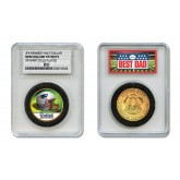 NEW ENGLAND PATRIOTS #1 DAD Licensed NFL 24KT Gold Clad JFK Half Dollar Coin in Special *Best Dad* Sealed Graded Holder