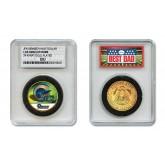 LOS ANGELES RAMS #1 DAD Licensed NFL 24KT Gold Clad JFK Half Dollar Coin in Special *Best Dad* Sealed Graded Holder
