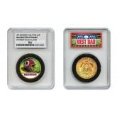 WASHINGTON REDSKINS #1 DAD Licensed NFL 24KT Gold Clad JFK Half Dollar Coin in Special *Best Dad* Sealed Graded Holder