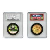 NEW ORLEANS SAINTS #1 DAD Licensed NFL 24KT Gold Clad JFK Half Dollar Coin in Special *Best Dad* Sealed Graded Holder