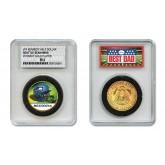 SEATTLE SEAHAWKS #1 DAD Licensed NFL 24KT Gold Clad JFK Half Dollar Coin in Special *Best Dad* Sealed Graded Holder
