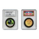 PITTSBURGH STEELERS #1 DAD Licensed NFL 24KT Gold Clad JFK Half Dollar Coin in Special *Best Dad* Sealed Graded Holder