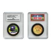 MINNESOTA VIKINGS #1 DAD Licensed NFL 24KT Gold Clad JFK Half Dollar Coin in Special *Best Dad* Sealed Graded Holder