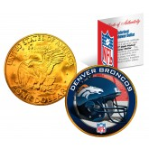 DENVER BRONCOS NFL 24K Gold Plated IKE Dollar US Colorized Coin - Officially Licensed