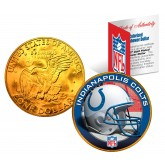 INDIANAPOLIS COLTS NFL 24K Gold Plated IKE Dollar US Colorized Coin - Officially Licensed