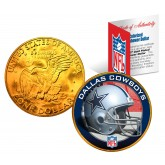 DALLAS COWBOYS NFL 24K Gold Plated IKE Dollar US Colorized Coin - Officially Licensed