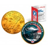 PHILADELPHIA EAGLES NFL 24K Gold Plated IKE Dollar US Colorized Coin - Officially Licensed