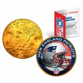 NEW ENGLAND PATRIOTS NFL 24K Gold Plated IKE Dollar US Colorized Coin - Officially Licensed