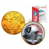 OAKLAND RAIDERS NFL 24K Gold Plated IKE Dollar US Colorized Coin - Officially Licensed