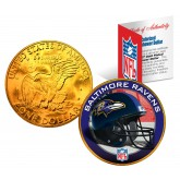 BALTIMORE RAVENS NFL 24K Gold Plated IKE Dollar US Colorized Coin - Officially Licensed