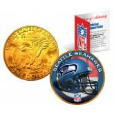 SEATTLE SEAHAWKS NFL 24K Gold Plated IKE Dollar US Colorized Coin - Officially Licensed