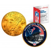 HOUSTON TEXANS NFL 24K Gold Plated IKE Dollar US Colorized Coin - Officially Licensed