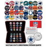 NFL TEAM LOGOS COMPLETE SET Colorized U.S. Statehood Quarters 32-Coin Complete Set with Display Box - Officially Licensed