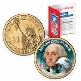 MIAMI DOLPHINS NFL Presidential $1 Dollar US Colorized Coin - Officially Licensed