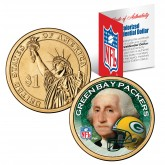 GREEN BAY PACKERS NFL Presidential $1 Dollar US Colorized Coin - Officially Licensed
