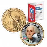 OAKLAND RAIDERS NFL Presidential $1 Dollar US Colorized Coin - Officially Licensed