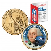 SEATTLE SEAHAWKS NFL Presidential $1 Dollar US Colorized Coin - Officially Licensed