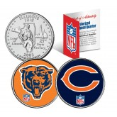 CHICAGO BEARS - Retro & Team Logo - Illinois Quarters 2-Coin U.S. Set - NFL Officially Licensed