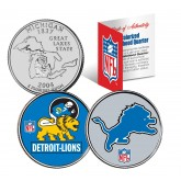 DETROIT LIONS - Retro & Team Logo - Michigan Quarters 2-Coin U.S. Set - NFL Officially Licensed