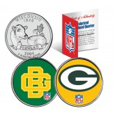 GREEN BAY PACKERS - Retro & Team Logo - Wisconsin Quarters 2-Coin U.S. Set - NFL Officially Licensed