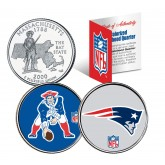 NEW ENGLAND PATRIOTS - Retro & Team Logo - Massachusetts Quarters 2-Coin U.S. Set - NFL Officially Licensed