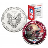 SAN FRANCISCO 49ERS 1 Oz American Silver Eagle $1 US Coin Colorized - NFL LICENSED