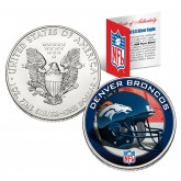 DENVER BRONCOS 1 Oz American Silver Eagle $1 US Coin Colorized - NFL LICENSED