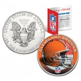 CLEVELAND BROWNS 1 Oz American Silver Eagle $1 US Coin Colorized - NFL LICENSED