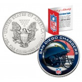 SAN DIEGO CHARGERS 1 Oz American Silver Eagle $1 US Coin Colorized - NFL LICENSED