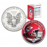 KANSAS CITY CHIEFS 1 Oz American Silver Eagle $1 US Coin Colorized - NFL LICENSED