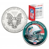 MIAMI DOLPHINS 1 Oz American Silver Eagle $1 US Coin Colorized - NFL LICENSED