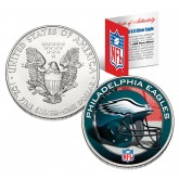 PHILADELPHIA EAGLES 1 Oz American Silver Eagle $1 US Coin Colorized - NFL LICENSED