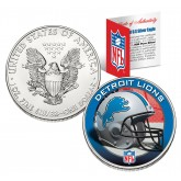 DETROIT LIONS 1 Oz American Silver Eagle $1 US Coin Colorized - NFL LICENSED
