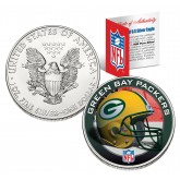 GREEN BAY PACKERS 1 Oz American Silver Eagle $1 US Coin Colorized - NFL LICENSED