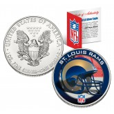 ST. LOUIS RAMS 1 Oz American Silver Eagle $1 US Coin Colorized - NFL LICENSED