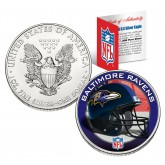 BALTIMORE RAVENS 1 Oz American Silver Eagle $1 US Coin Colorized - NFL LICENSED