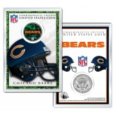 CHICAGO BEARS Field NFL Colorized JFK Kennedy Half Dollar U.S. Coin w/4x6 Display
