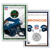 DENVER BRONCOS Field NFL Colorized JFK Kennedy Half Dollar U.S. Coin w/4x6 Display