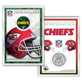KANSAS CITY CHIEFS Field NFL Colorized JFK Kennedy Half Dollar U.S. Coin w/4x6 Display