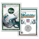 MIAMI DOLPHINS Field NFL Colorized JFK Kennedy Half Dollar U.S. Coin w/4x6 Display