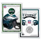 PHILADELPHIA EAGLES Field NFL Colorized JFK Kennedy Half Dollar U.S. Coin w/4x6 Display