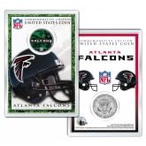 ATLANTA FALCONS Field NFL Colorized JFK Kennedy Half Dollar U.S. Coin w/4x6 Display